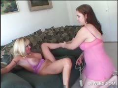Hot lesbo scene with BBW..