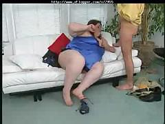 Drive fat woman moves her..