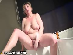 Horny busty mature old woman..