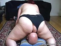 Chubby mistress sits the..